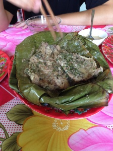 White Snapper in a banana leaf