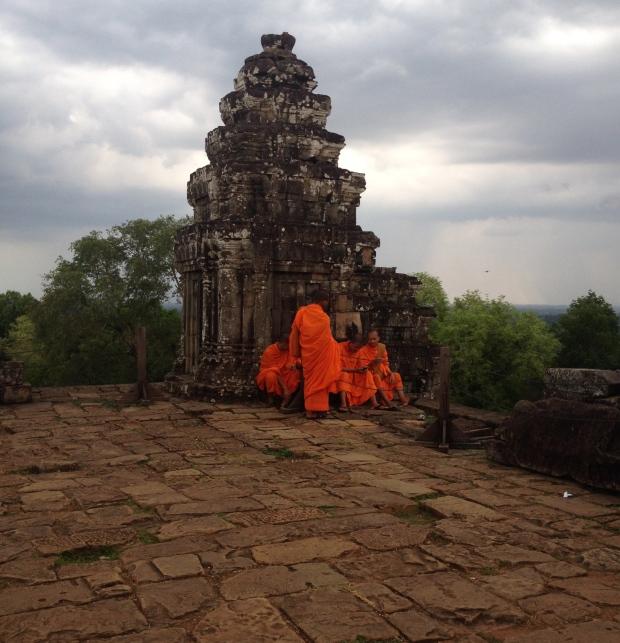 Monks at Phnom Bakheng